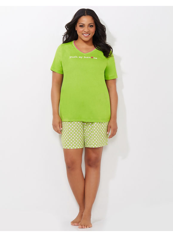 Catherines Plus Size Push My Buttons Pajama Set -  Bright Green