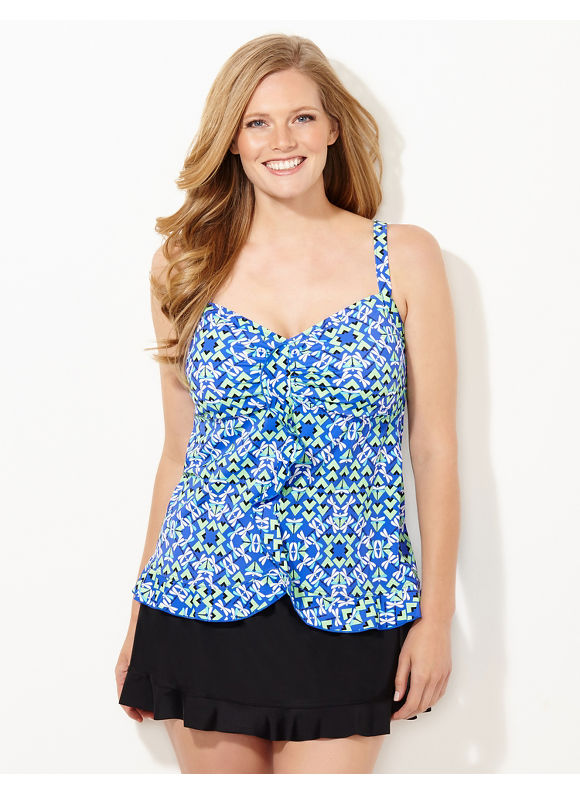 Catherines Plus Size Geo-Dragonfly Swim Top, Women's, Size: 18W, Tranquil Turquoise - Catherines ~ Classic Plus Size Clothes