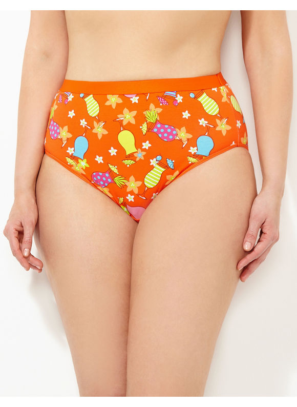 Catherines Intimates Plus Size Beach Therapy Cotton Hi-Cut Brief, Women's, Size: 10, Pale Orange - Catherines ~ Classic Plus Size Clothes