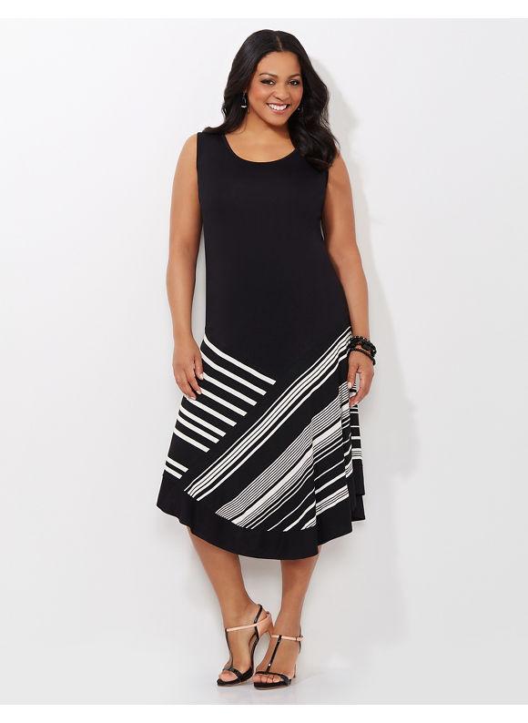 Plus Size Stripe Simplicity Dress, Catherines, black