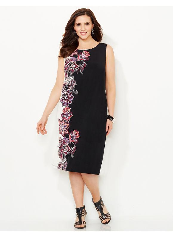 Plus Size Paisley Shift Dress, Catherines Women's Size 1X,2X,3X,0X, black