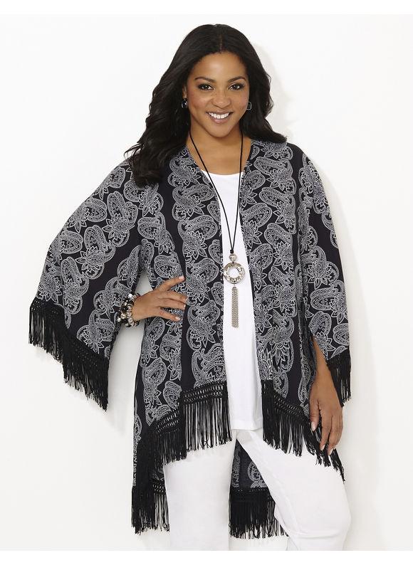 Catherines Plus Size Fringe Adoration Kimono - black
