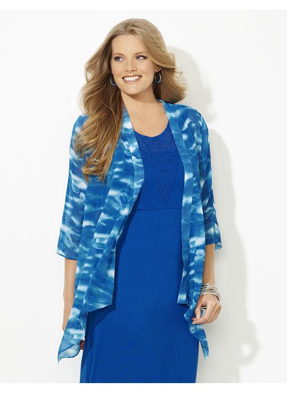 Catherines Plus Size Soledad Tie-Dye Cascade - Dark Turquoise