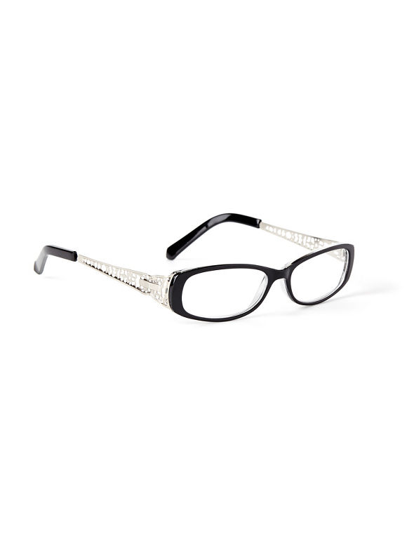 Catherines Bridge The Gap Reading Glasses, Black - Catherines ~ Classic Plus Size Clothes