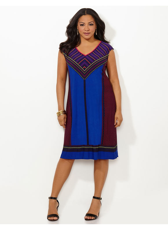Plus Size Tribal Nuance Dress Catherines Womens Size 0X Magenta Blooms $89.00 AT vintagedancer.com