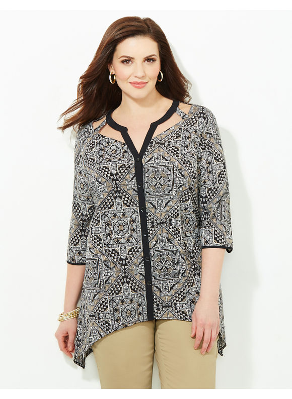 Catherines Plus Size Creative Energy Blouse, Women's, Size: 0X, Dark Khaki - Catherines ~ Classic Plus Size Clothes