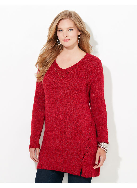 Catherines Plus Size Autumn Softness Sweater, Women's, Size: 1X, Red