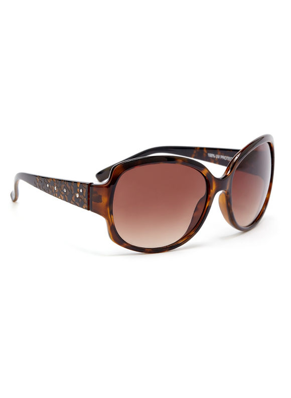 Catherines Pattern Boost Sunglasses, Women's, Gold - Catherines ~ Classic Plus Size Clothes