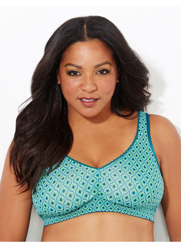 Catherines Intimates Plus Size Dark Green Peacock No-Wire Cotton Comfort Bra, Women's, Size: 42DDD, Everglade - Catherines ~ Classic Plus Size Clothes