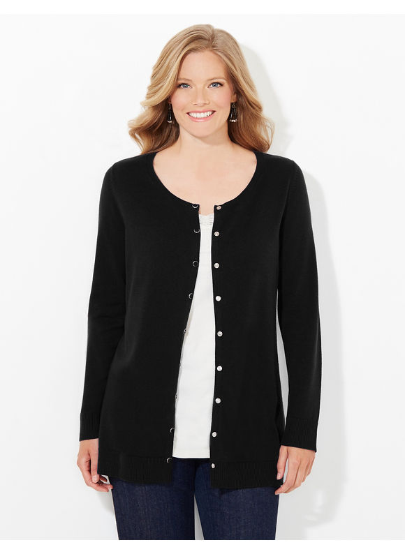 Catherines Plus Size Snap Cardigan, Women's, Size: 1X, Black - Catherines ~ Classic Plus Size Clothes