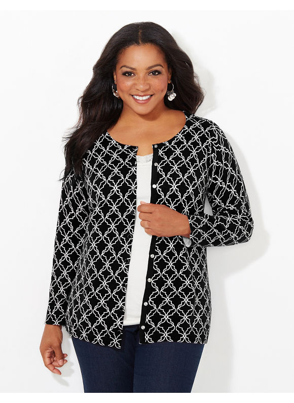 Catherines Plus Size Printed Snap Cardigan, Women's, Size: 1X, Black/White - Catherines ~ Classic Plus Size Clothes