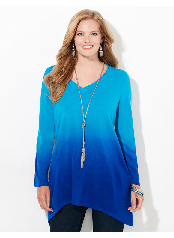 Catherines Plus Size Softly Faded Sweater, Jet Blue