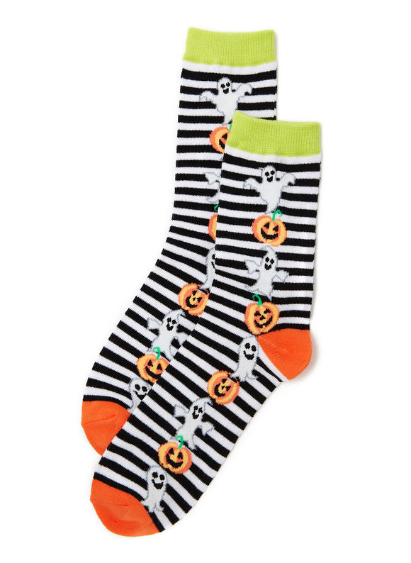 Catherines Plus Size Halloween Happiness Socks, blackwhite - Women's Size One Size, black/white