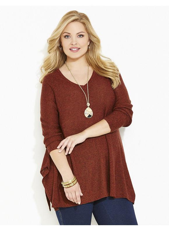 Catherines Plus Size Bennett Pullover, Women's, Size: 2X, Dark Red