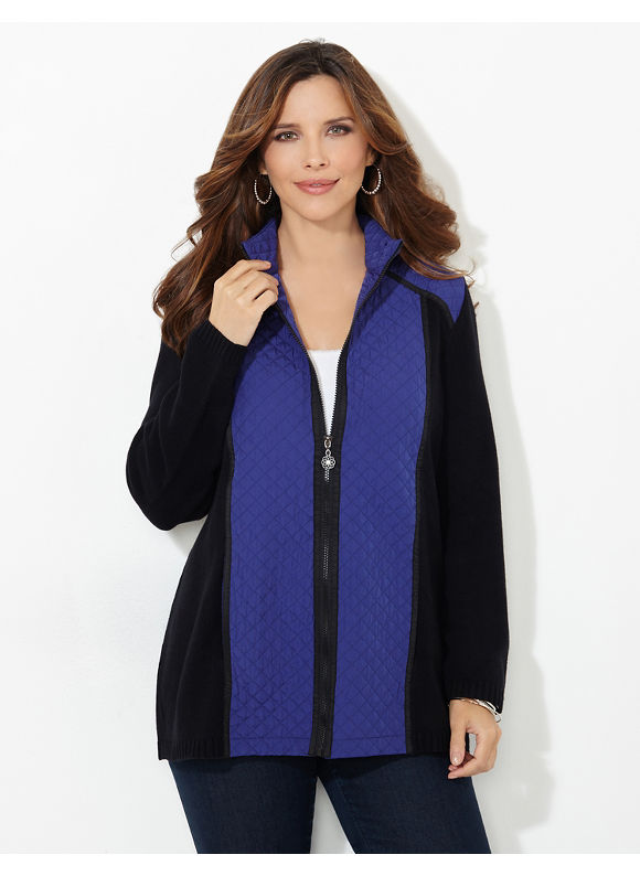 Catherines Plus Size Colorblock Quilted Knit Sweater, - Women's Size 1X, Horn Blue