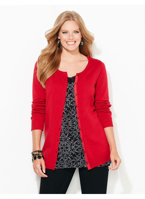 Catherines Plus Size Button Cardigan, Women's, Size: 2XL, Red