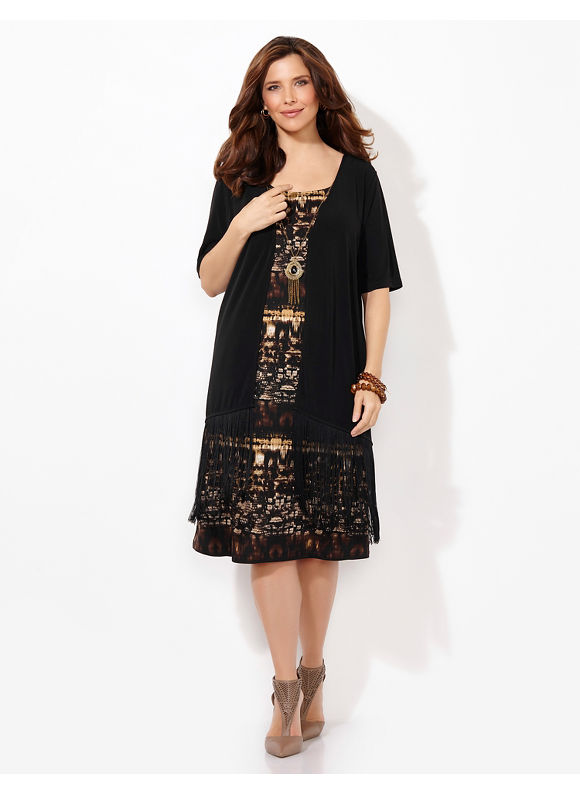 Plus Size Rive Gauche Jacket Dress, Catherines Women's, black