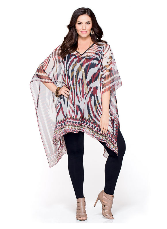 Catherines Plus Size Untamed Stripe Poncho, Women's, Biking Red