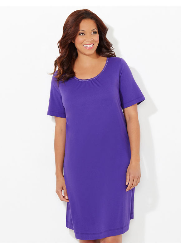 Catherines Plus Size Shimmer Stitch Sleepshirt - Regal Purple