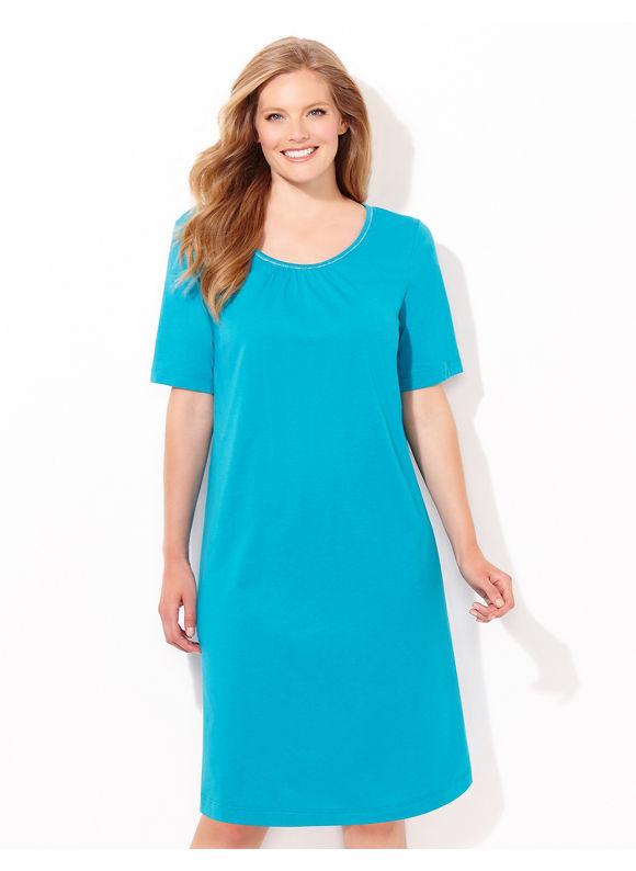 Catherines Plus Size Shimmer Stitch Sleepshirt, - Women's, Dark Aqua