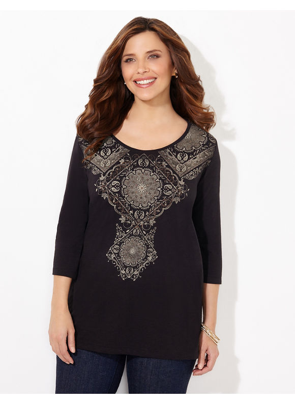 Catherines Plus Size Regency Top - Womens Size 3X black $24.99 AT vintagedancer.com