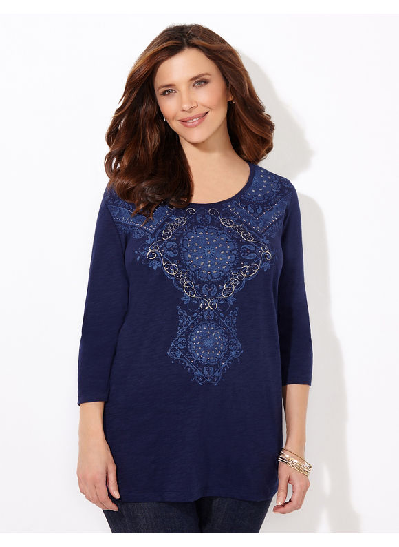 Catherines Plus Size Regency Top - Womens Size 1X Mariner Navy $24.99 AT vintagedancer.com