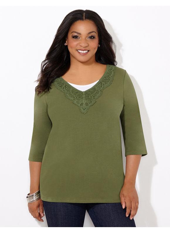 Catherines Plus Size Morning Glory V-Neck, - Women's, Bronz Green
