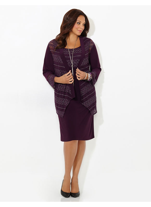 Catherines Plus Size Charmer Jacket Dress, Women's, Size: 18W, Purple Velvet