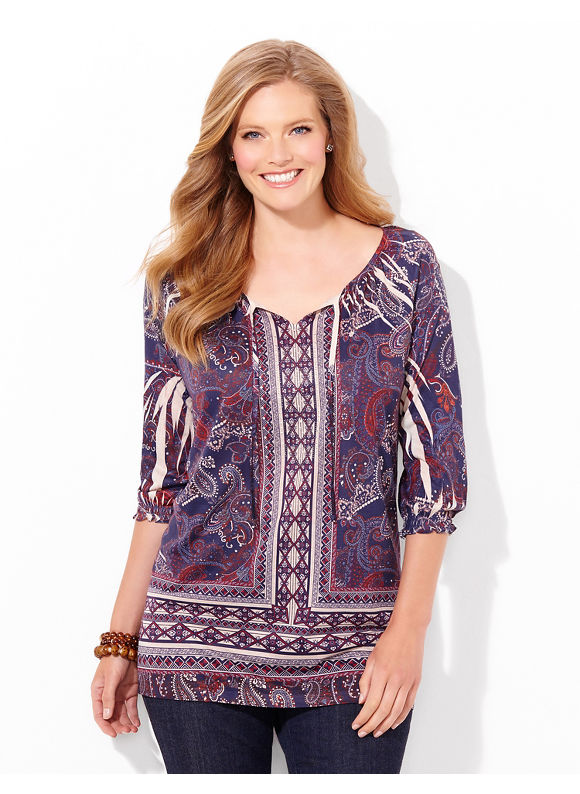 Catherines Plus Size Proud Paisley Top, Women's, Size: 0X, Mariner Navy - Catherines ~ Classic Plus Size Clothes