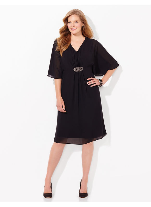 Plus Size Figure Flow Dress, Catherines black