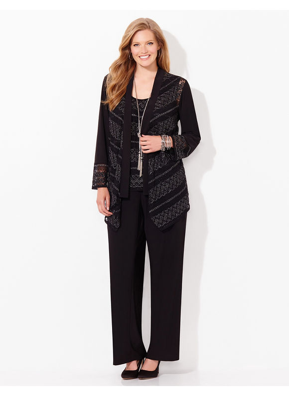 Catherines Plus Size Social Shimmer Pantsuit, - Women's, black