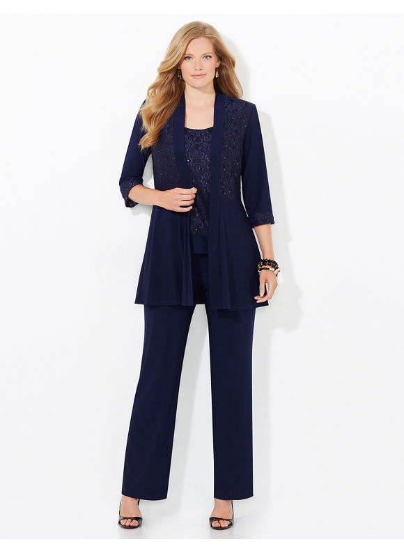 Catherines Plus Size Refined Shine Pantsuit, Women's, Size: 18W, Mariner Navy