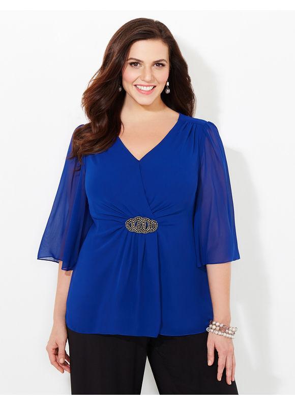Catherines Plus Size Caspian Blouse, Women's, Size: 1X, Jet Blue