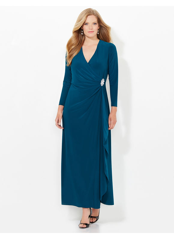 Plus Size Statuesque Wrap Dress Catherines Womens Size 18W green $103.99 AT vintagedancer.com