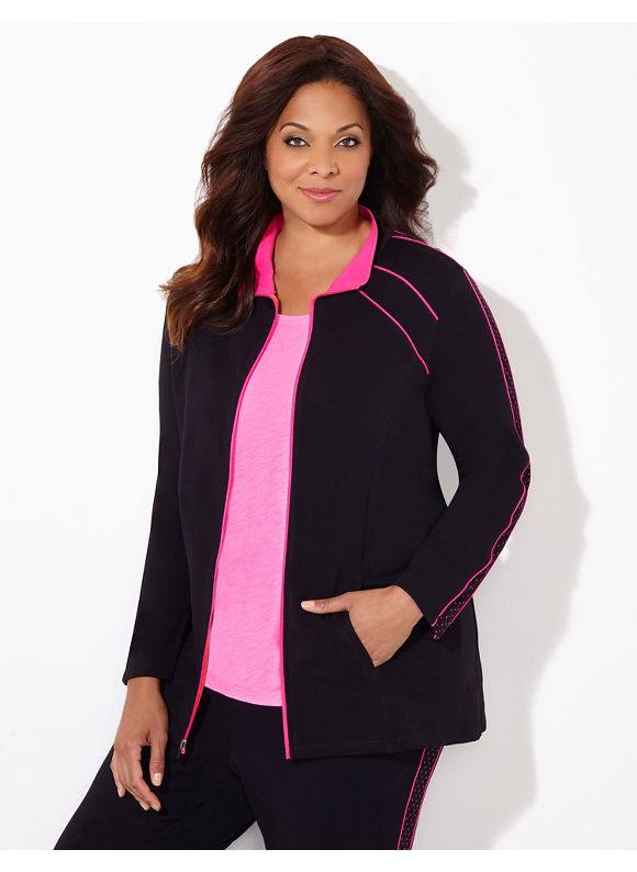 Catherines Plus Size Peace Of Mind Jacket, Women's, Size: 3X, Pink Glow