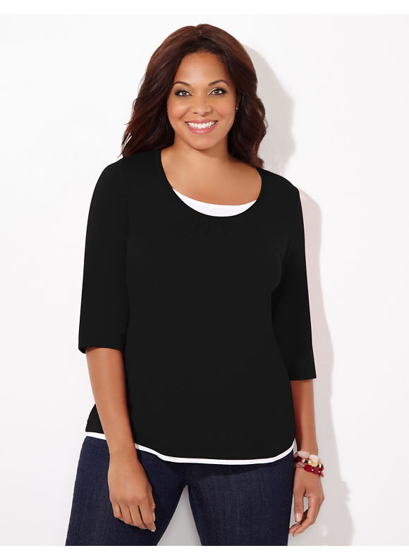 Suprema Essentials by Catherines Plus Size Suprema Layered-Look Scoopneck, Women's, Size: 2X, Black - Catherines ~ Classic Plus Size Clothes