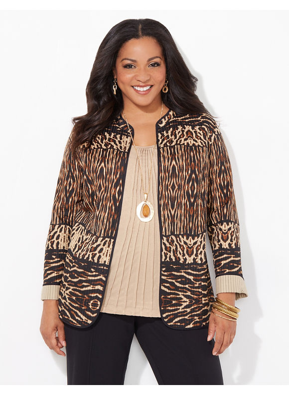 Catherines Plus Size Animal Instinct Reversible Jacket,  Black Multi