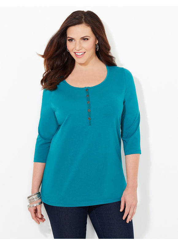 Suprema Essentials by Catherines Plus Size Suprema Henley, Women's, Size: 3X, Everglade - Catherines ~ Classic Plus Size Clothes