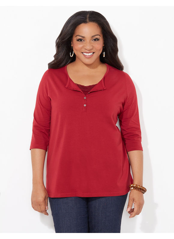 Suprema Essentials by Catherines Plus Size Suprema Henley, Women's, Size: 1X,2X,3X,0X, Black, Biking Red, Mariner Navy, Grey Heather, Star Saphire, Forest Night, Everglade, Lunar Purple - Catherines ~ Classic Plus Size Clothes