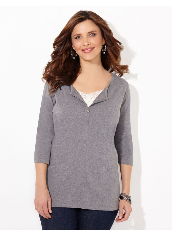 Suprema Essentials by Catherines Plus Size Suprema Henley, Women's, Size: 3X, Grey Heather - Catherines ~ Classic Plus Size Clothes