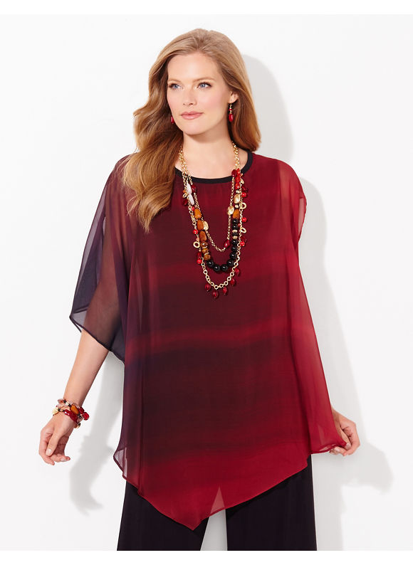 Catherines Plus Size AnyWear Blended Fade Top, - Women's, Black Multi