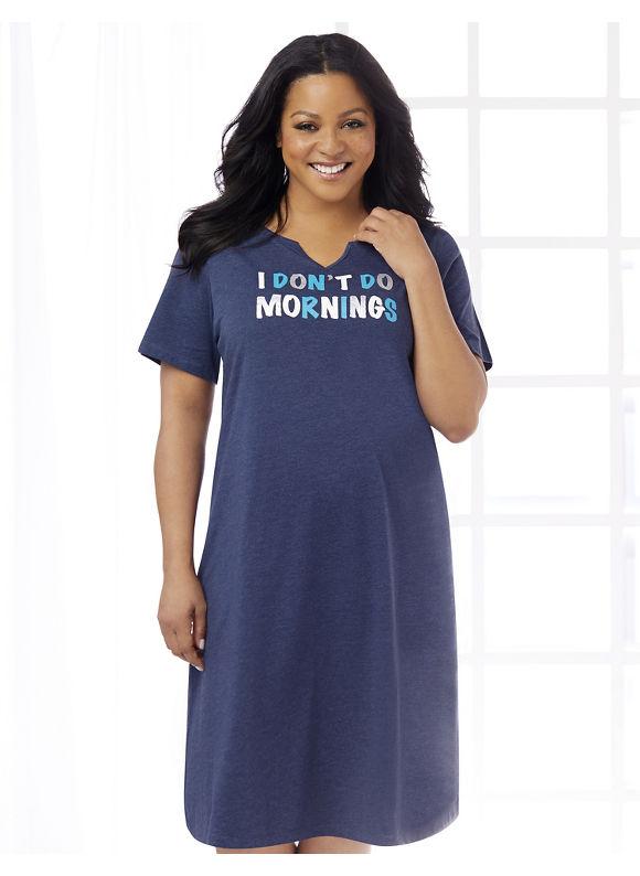 Catherines Plus Size No More Mornings Sleepshirt, - Women's, Mariner Navy