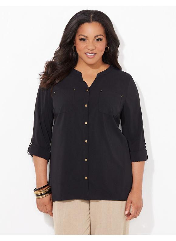 Catherines Plus Size Staple Blouse, Women's, Size: 2X, Black