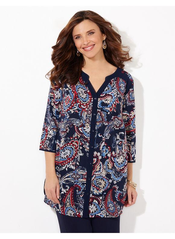 Catherines Plus Size Paisley Artwork Blouse, Women's, Size: 1X, Metal Blue