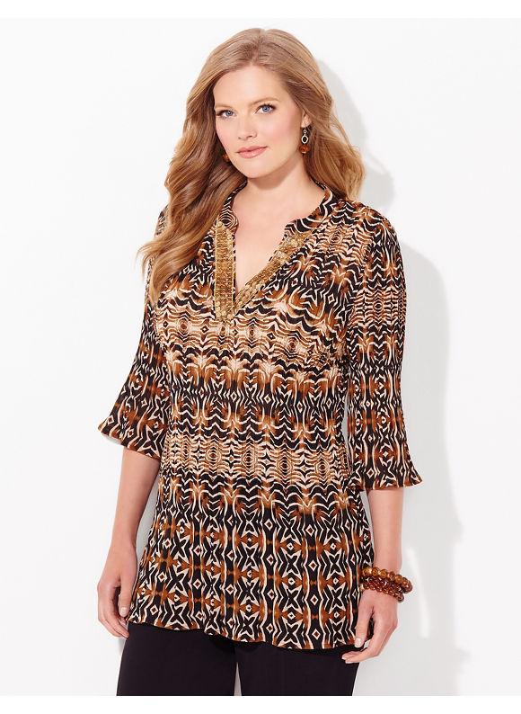Catherines Plus Size Nuance Pleated Blouse, Women's, Size: 1X, Dusty Khaki - Catherines ~ Classic Plus Size Clothes