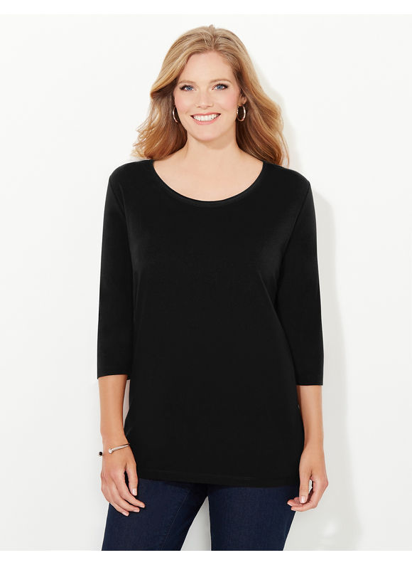 Suprema Essentials by Catherines Plus Size Suprema 3/4-Sleeve Mesh-Trim Tee, Women's, Size: 0X, Black - Catherines ~ Classic Plus Size Clothes
