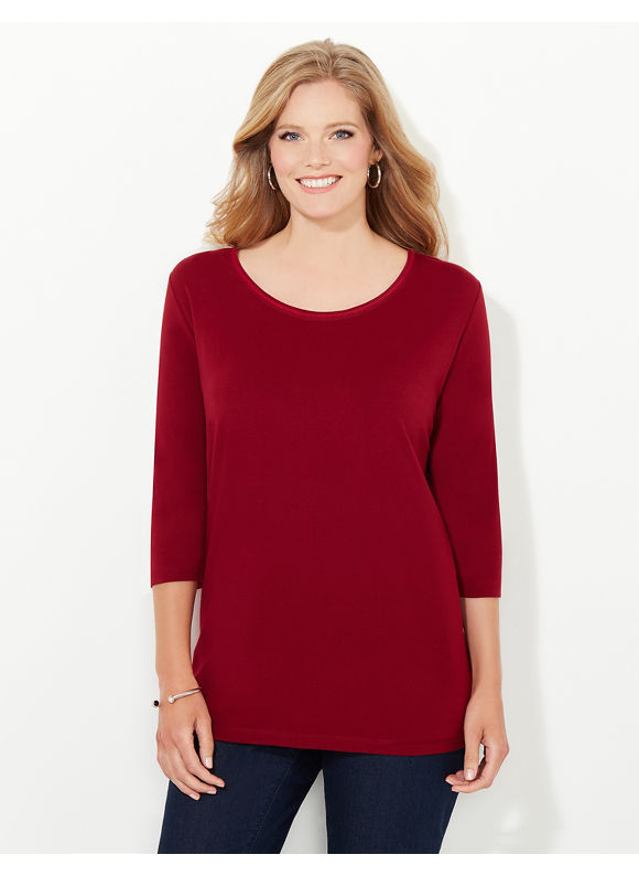 Suprema Essentials by Catherines Plus Size Suprema 3/4-Sleeve Mesh-Trim Tee, Women's, Size: 0X, Deep Scarlet - Catherines ~ Classic Plus Size Clothes
