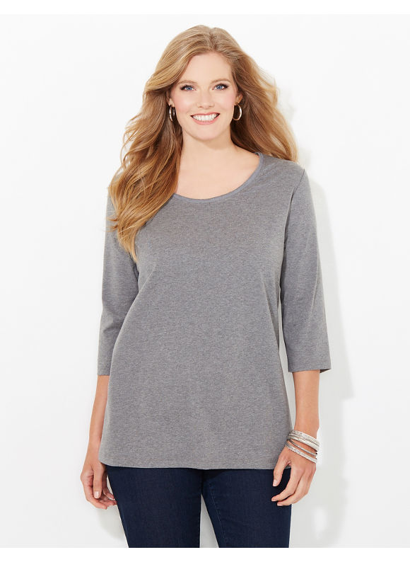 Suprema Essentials by Catherines Plus Size Suprema 3/4-Sleeve Mesh-Trim Tee, Women's, Size: 0X, Grey Heather - Catherines ~ Classic Plus Size Clothes
