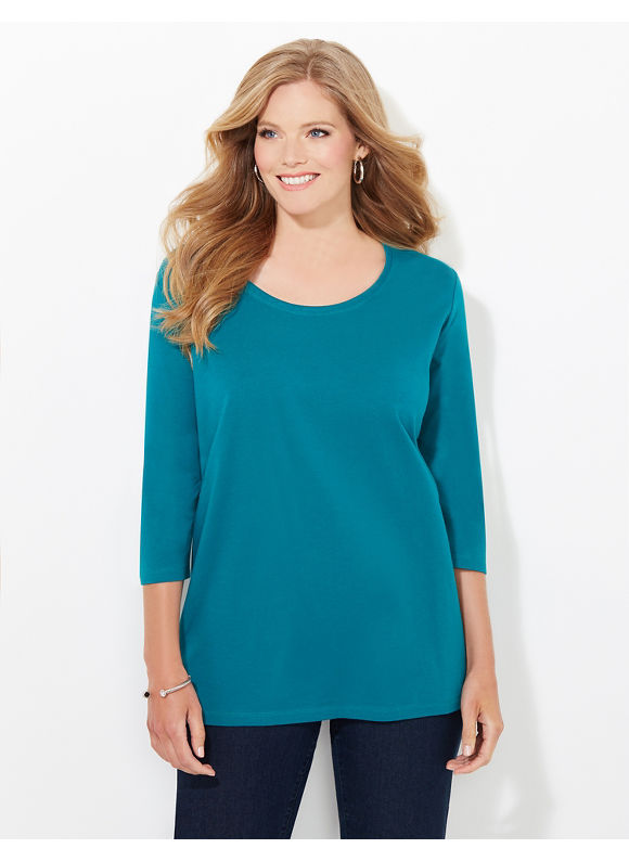 Suprema Essentials by Catherines Plus Size Suprema 3/4-Sleeve Mesh-Trim Tee, Women's, Size: 0X, Everglade - Catherines ~ Classic Plus Size Clothes