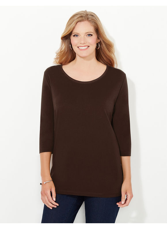 Suprema Essentials by Catherines Plus Size Suprema 3/4-Sleeve Mesh-Trim Tee, Women's, Size: 0X, Chocolate Ganache - Catherines ~ Classic Plus Size Clothes